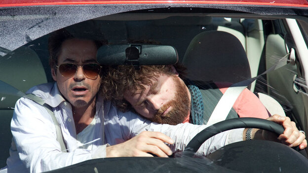 Robert Downey Jr. and Zach Galifianakis in a car