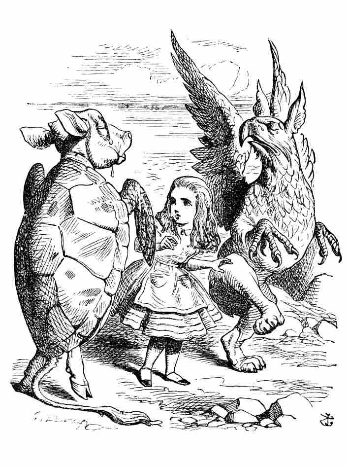 An illustration by John Tenniel from the book Alice in Wonderland by Lewis Carroll.
