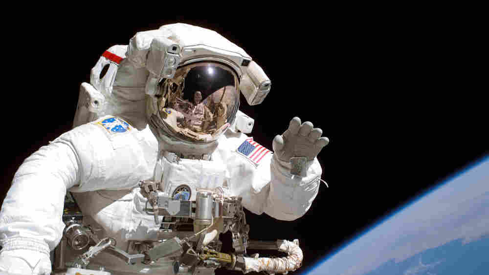 Astronaut Joseph R. Tanner on a support mission to the International Space Station in 2006.