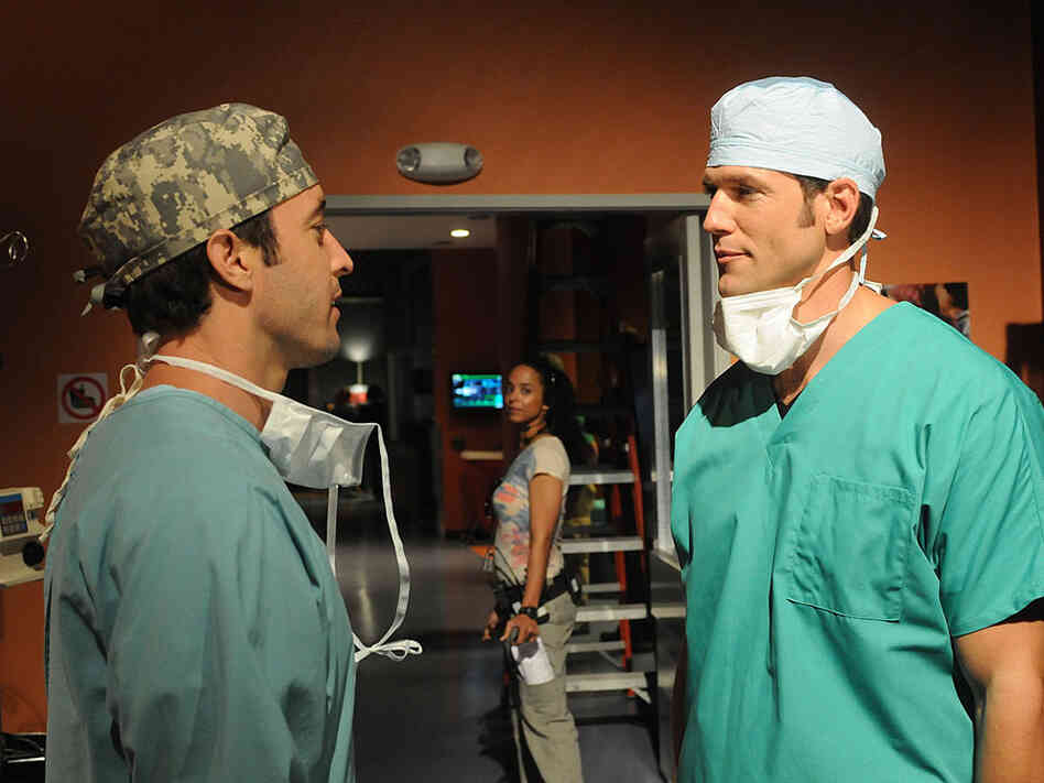 Dr. Travis Stork, right, makes a guest appearance on the CBS show Three Rivers.