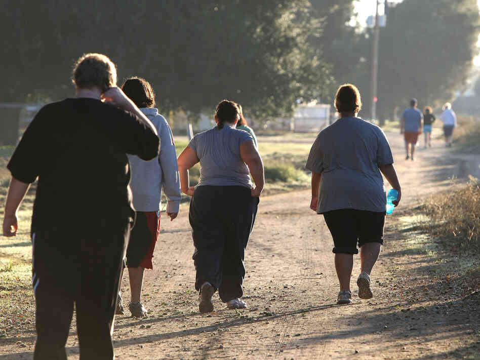 Overweight young people exercise.