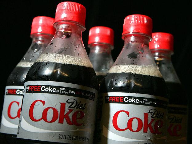 Bottles of Diet Coke.