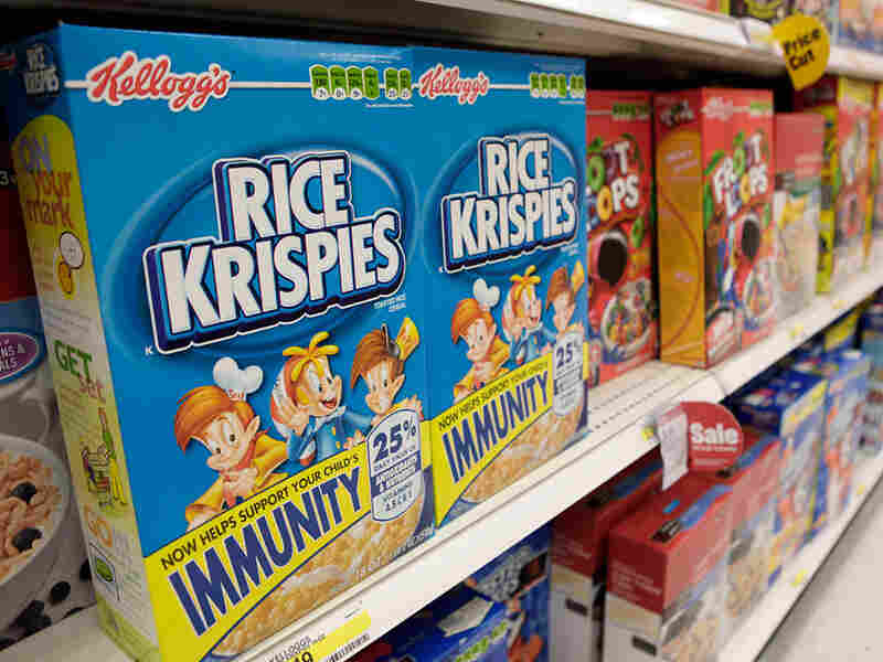 Rice Krispies boxes in grocery store.