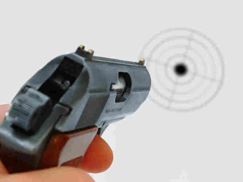 A gun and a target.