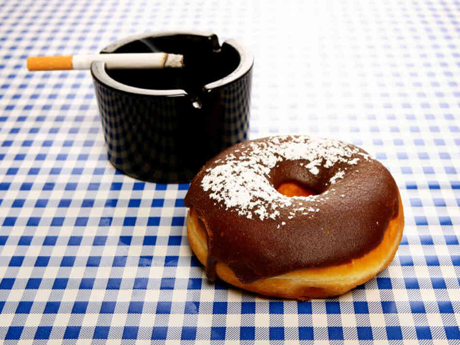 Donut and a cigarette.