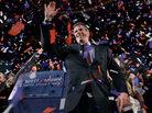 Massachusetts State Sen. Scott Brown, R-Wrentham, celebrates in Boston.