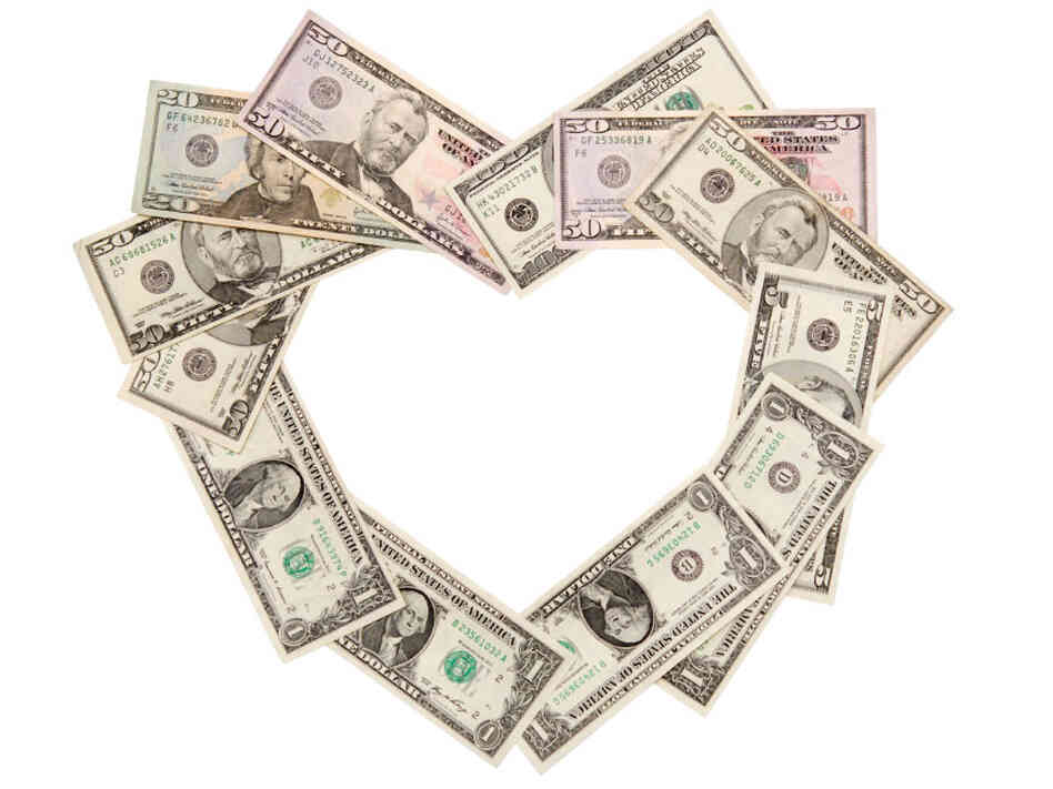 Money in heart shape.