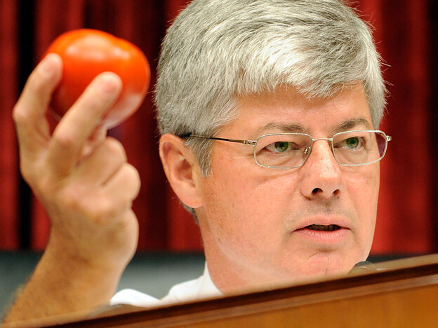 Rep. Bart Stupak of Michigan, who said he won't run for reelection, holds up a tomato at a 2008 hear