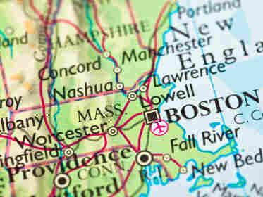 Map showing Boston, Massachusetts.