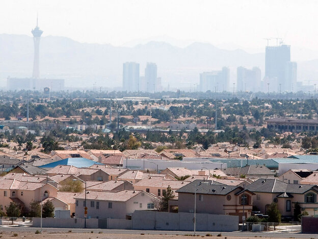 Smog hangs over Las Vegas Strip.