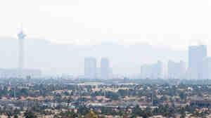 Smog hangs over Las Vegas Strip.