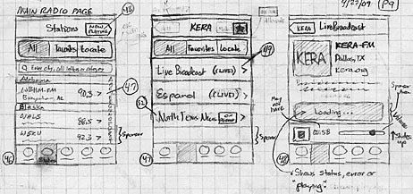 pencil sketch of NPR News iPhone app.