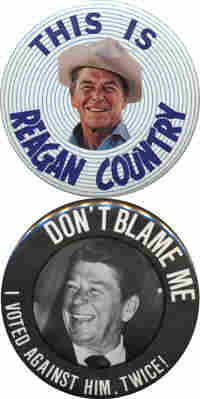 pro and anti Reagan buttons