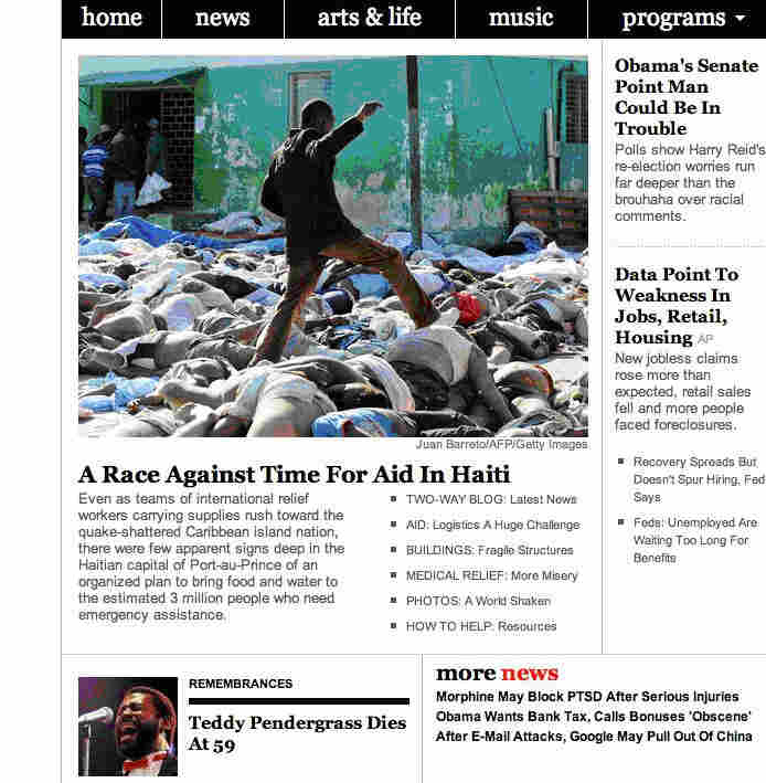 Screenshot of the NPR homepage with a picture of a man stepping over dead bodies in Haiti.