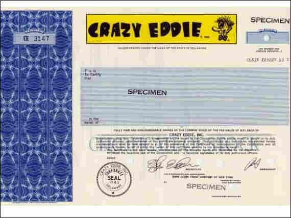 Crazy Eddie Stock Certificate