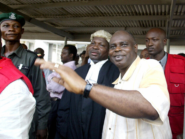 an impeached Nigerian state governor leaves court