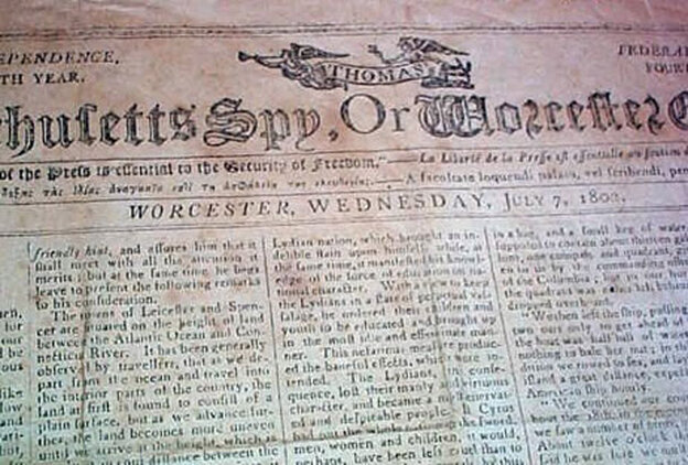 A newspaper from 1802