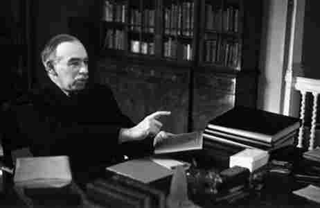 John Maynard Keynes at his desk.