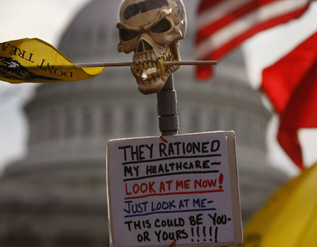 sign from health care protest