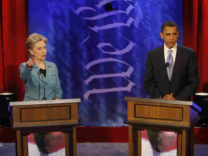 Hillary Clinton and Barack Obama debate in Philadelphia on April 16, 2008