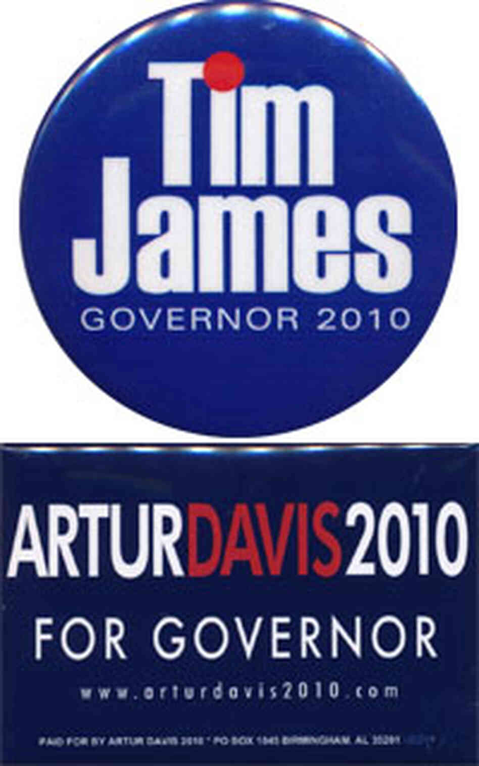 Alabama James and Davis buttons