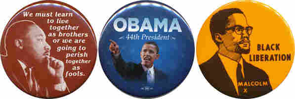 King, Obama, Malcolm X buttons