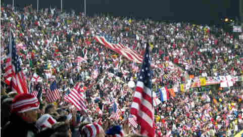 American flags at the stadium in Rustenburg, South Africa.