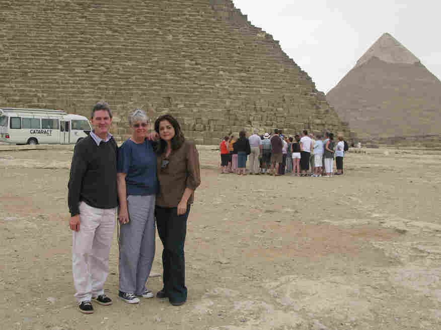 Senior Producer Ned Wharton, Host Liane Hansen, and Davar Ardalan on assignment in Egypt.