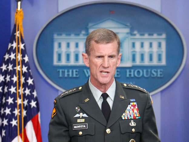 General Stanley McChrystal speaks at a daily White House briefing.