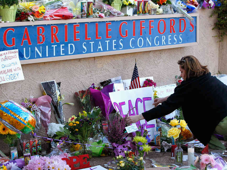 makeshift memorial for Rep. Gabrielle Giffords