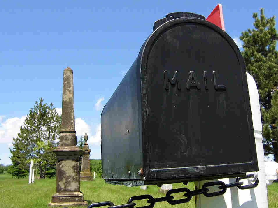 A mailbox — at a graveyard — in Marshfield, Prince Edward Island.