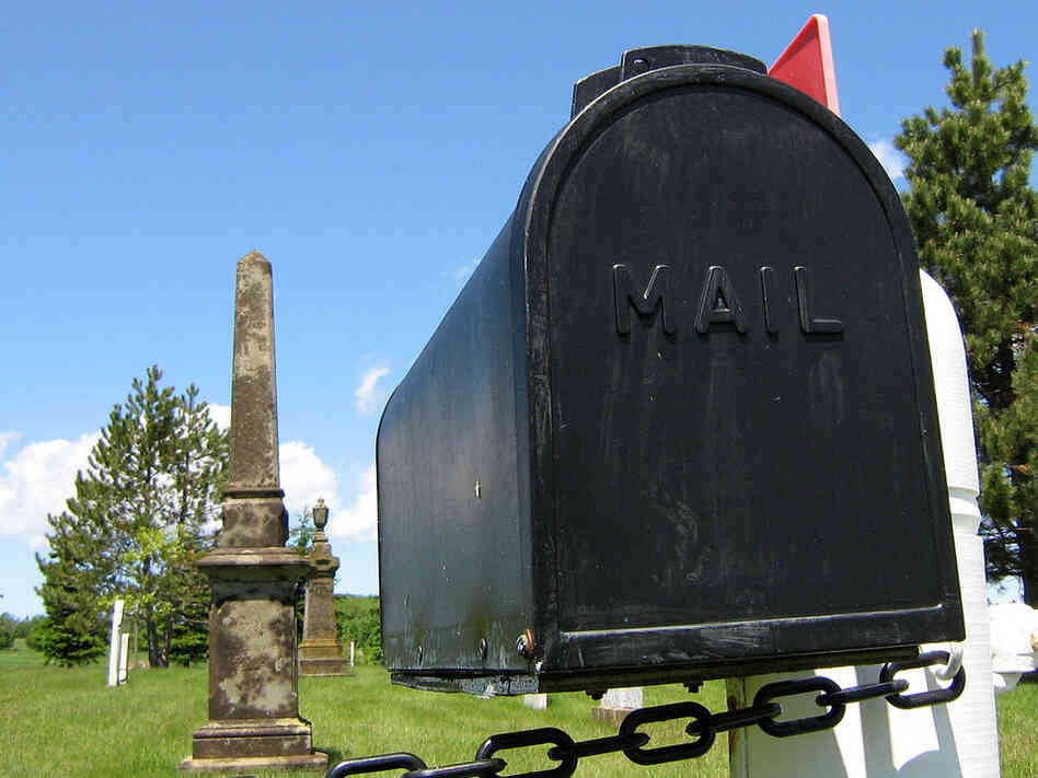 A mailbox — at a graveyard — in Marshfield, Prince Edward Island.