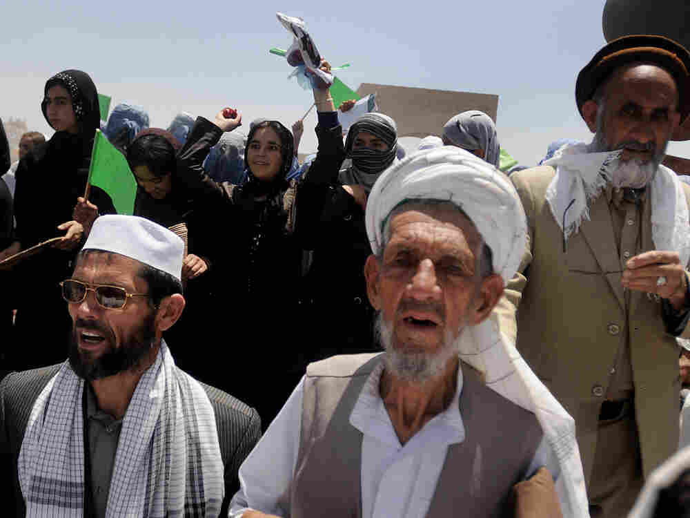 Supporters of presidential candidate Abdullah Abdullah at a campaign event in Charikar city of Parwa