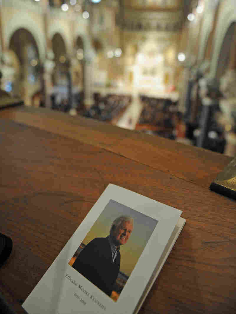 A program for the funeral of Sen. Edward Kennedy is seen in Our Lady of Perpetual Help Basilica duri