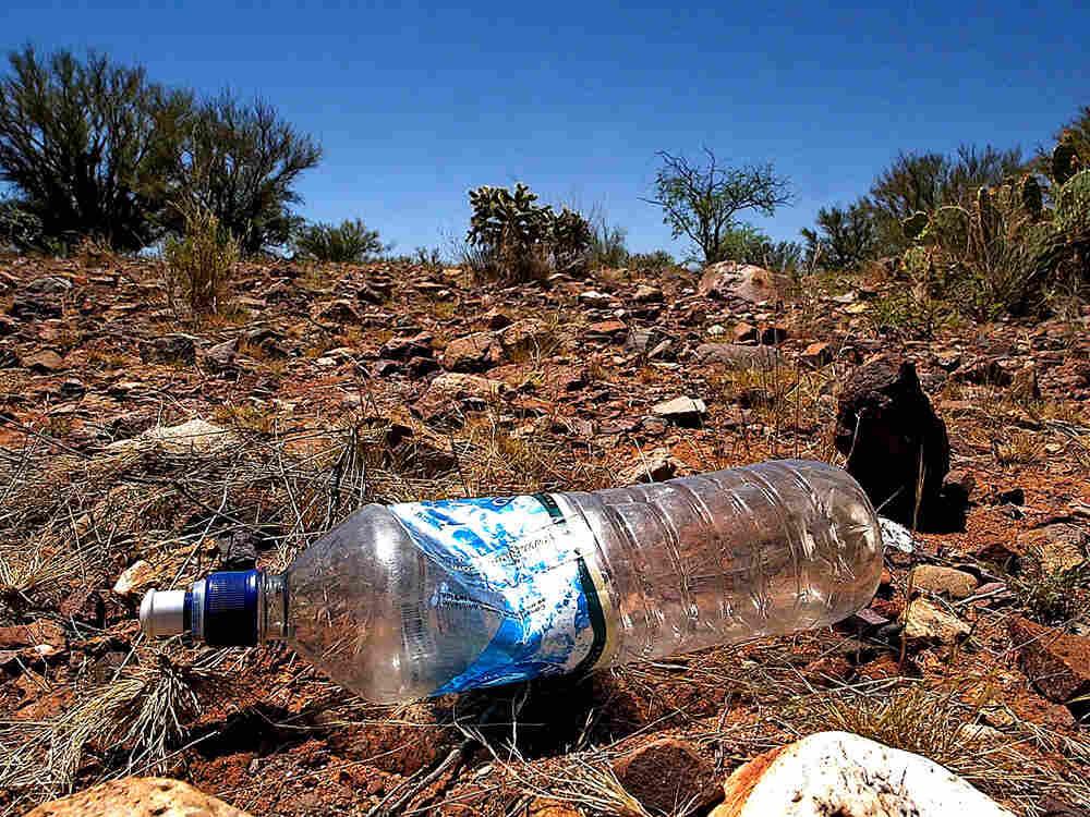 water bottle in Arizona desert.