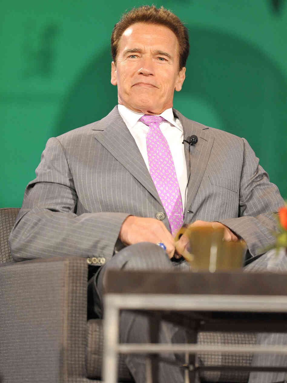 Govenor Arnold Schwarzenegger participates in a panel discussion at the 2009 Womens Conference held