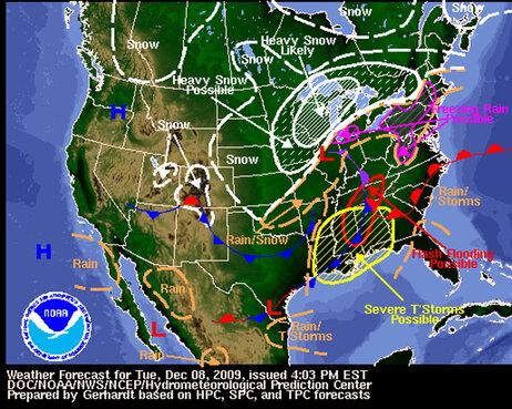 Dec. 8, 2009 NWS forecast map.