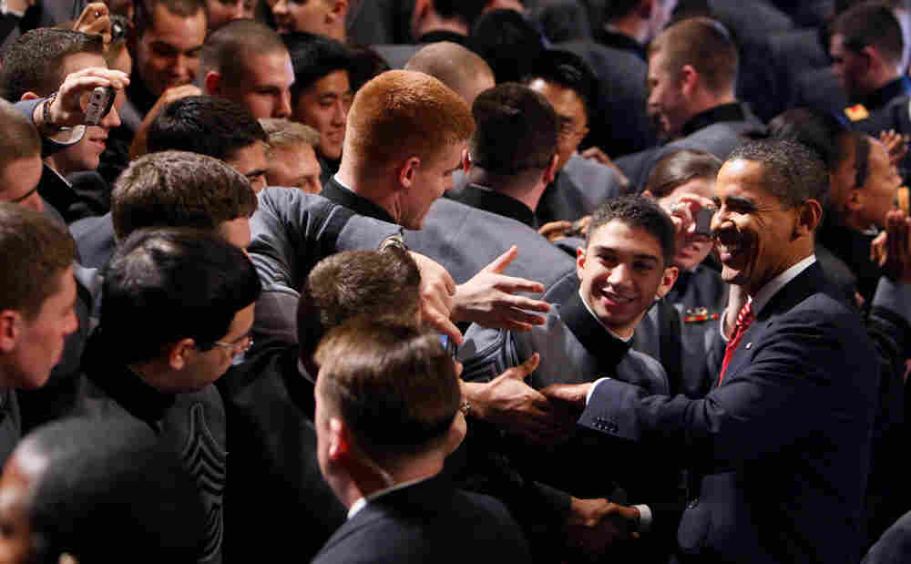 President Barack Obama greets cadets after speaking about the war in Afghanistan at the U.S. Militar