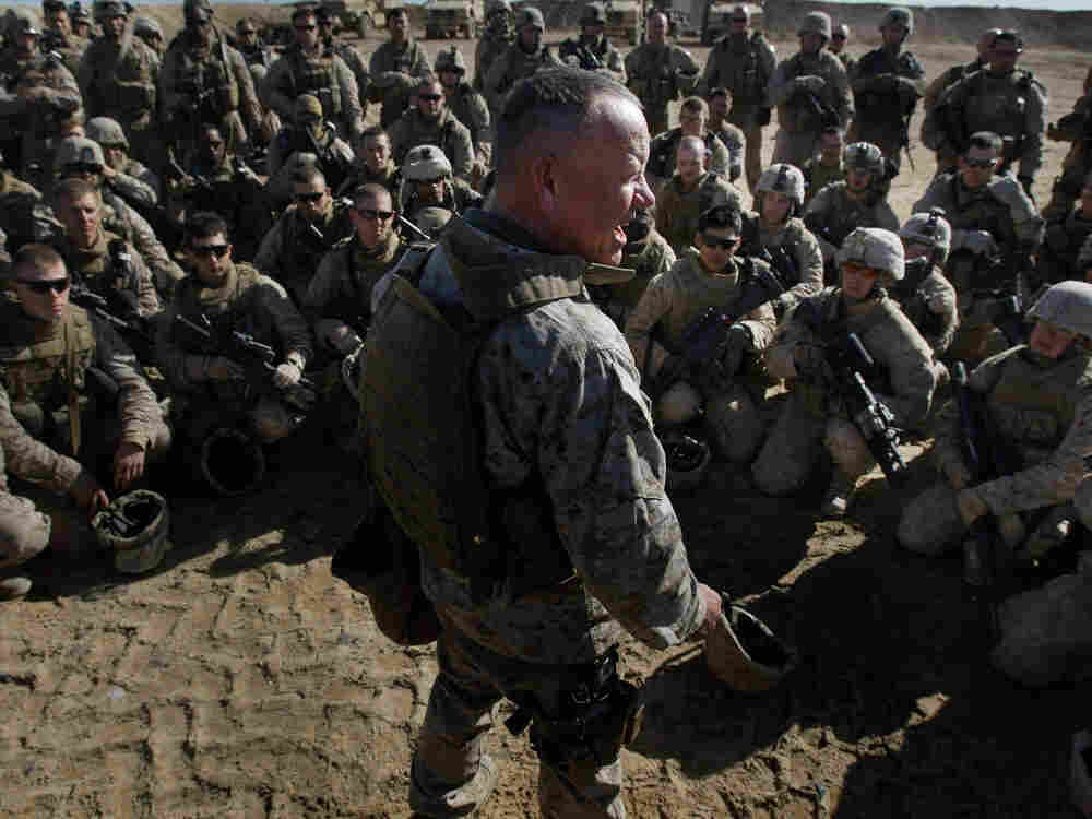U.S. Marine Brigadier General Larry Nicholson speaks to U.S. Marines from the 2nd MEB, 3rd Battalion