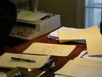 Elmore Leonard's writing desk. (Noah Adams/NPR)