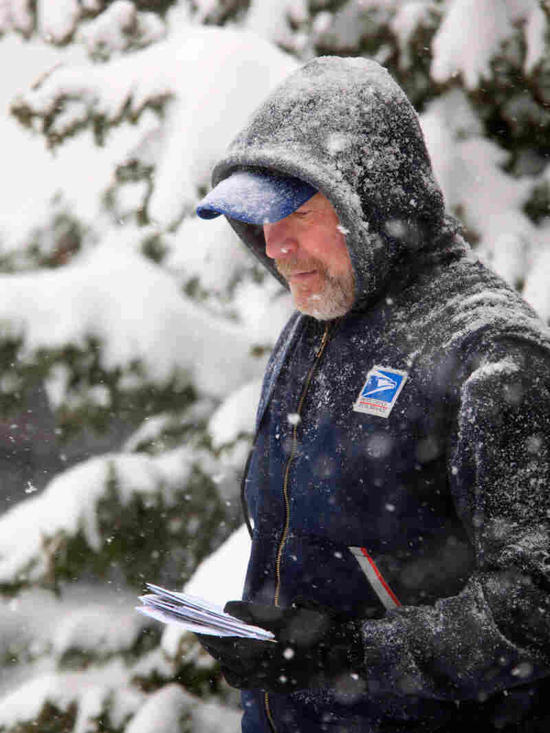 U. S.Post Office letter carrier Tim Bell delivers the mail during a snow storm in Havertown, Pa. Sat