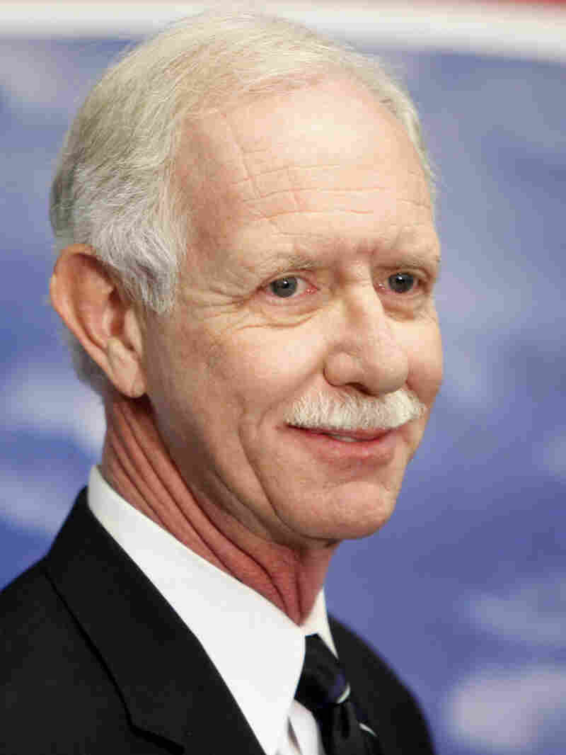 Pilot Chesley Sullenberger speaks to the media at LaGuardia Airport in New York, Thursday, Oct. 1, 2