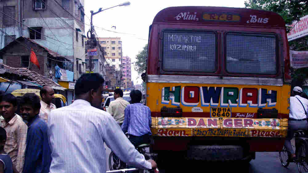 Buses in Kolkata --and across India -- ask the vehicle behind them to honk. Most trucks and buses ru