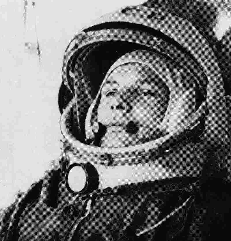 Soviet cosmonaut Major Yuri Gagarin, first man to orbit the earth, is shown in his space suit in thi