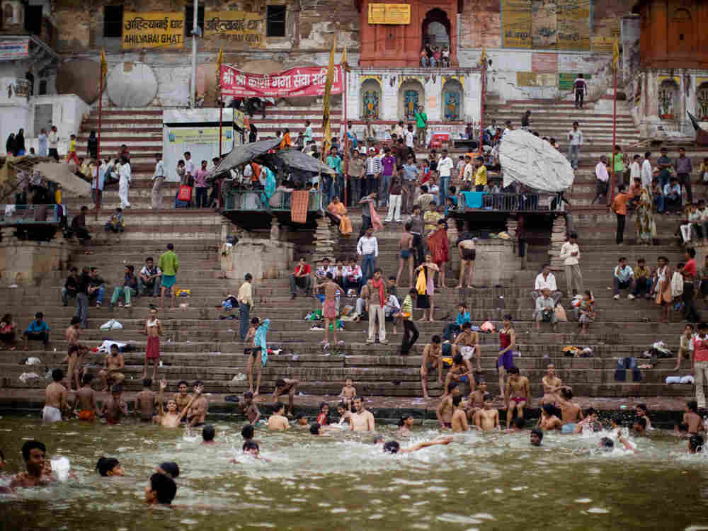 Morning bathers in the Ganges River; Varanasi, India.(Kainaz Amaria for NPR)