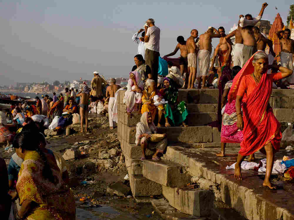 Morning bathers at the edge of the Ganges River in Varanasi, India. (Kainaz Amaria for NPR)