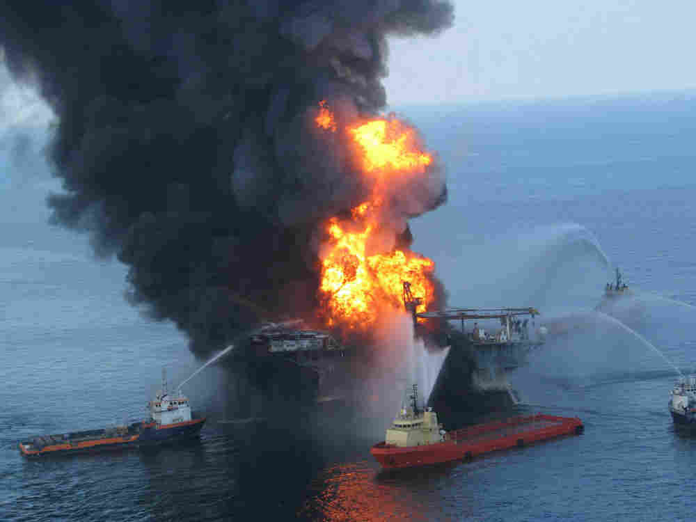 The burning off-shore oil platform Deepwater Horizon has sunk in the Gulf of Mexico.