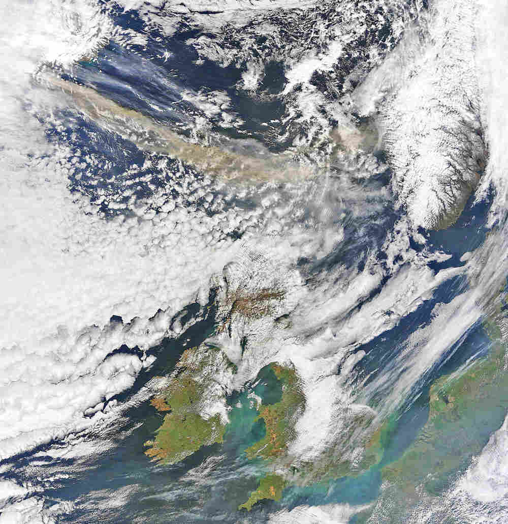 This image made available by NEODASS/University of Dundee shows the volcanic ash plume from Iceland,