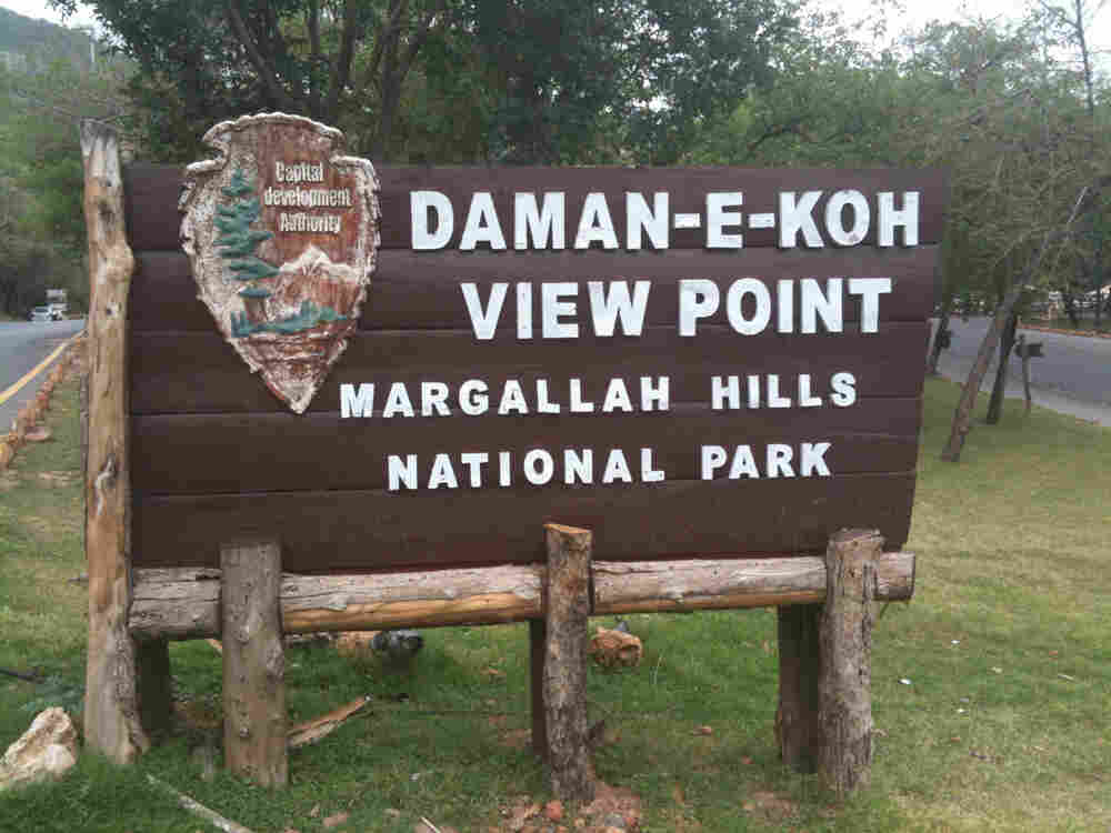 Margallah Hills National Park, Pakistan sign.