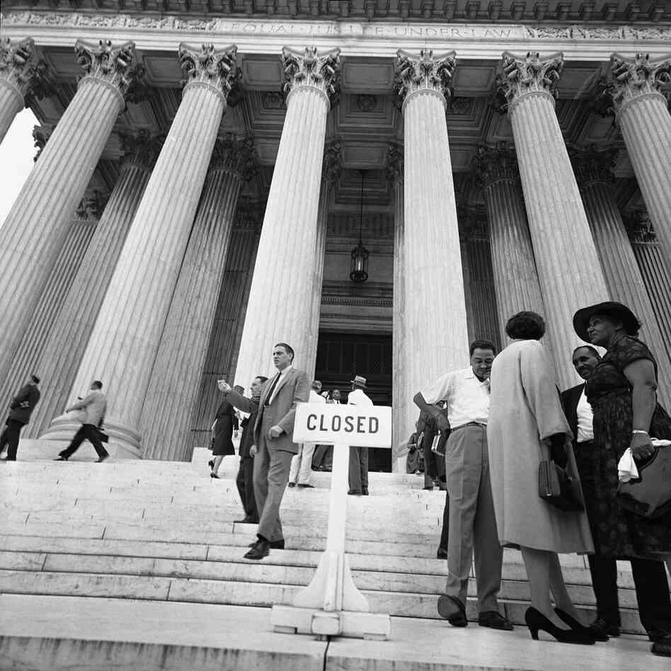The Supreme Court is closing its front door to entering visitors.
